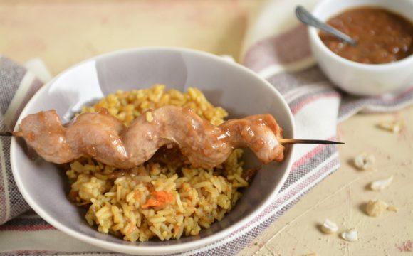 Orzechowe polędwiczki z smażonym ryżem