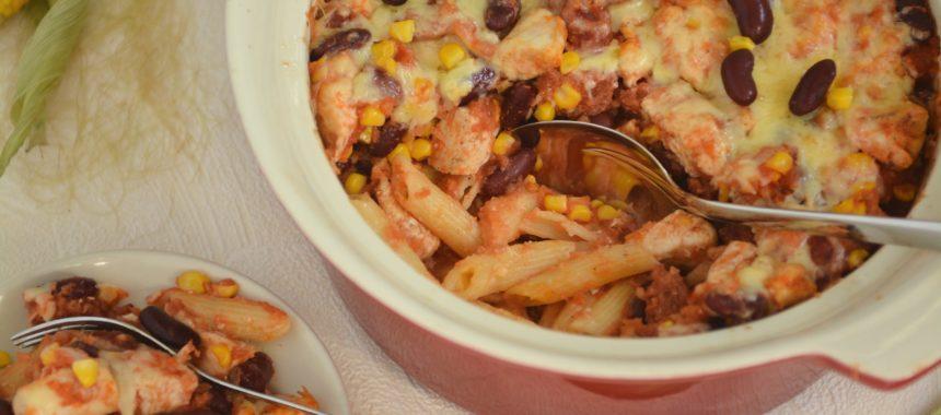 Meksykańska zapiekanka casserolle z kurczaka