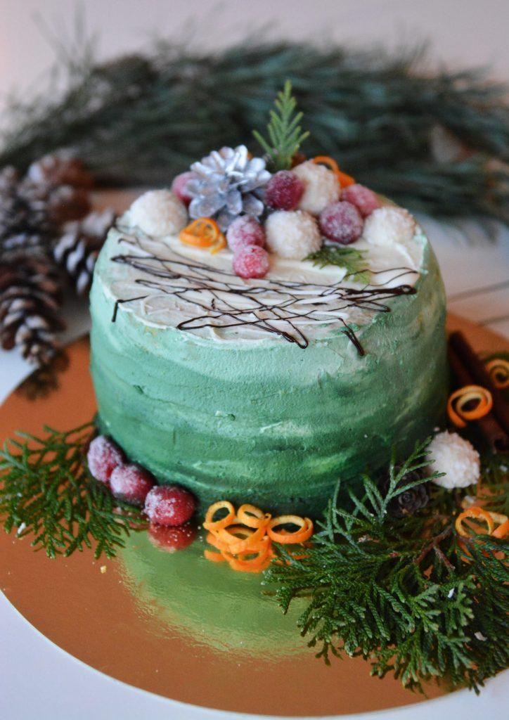 dekoracja świąteczna tortu