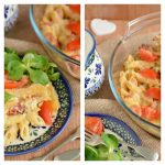 Zapiekanka z makaronem i miksem wędlin i serów