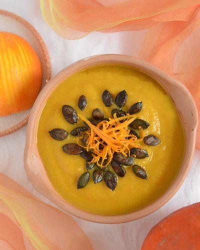 Kremowa zupa z dyni z pomarańczą