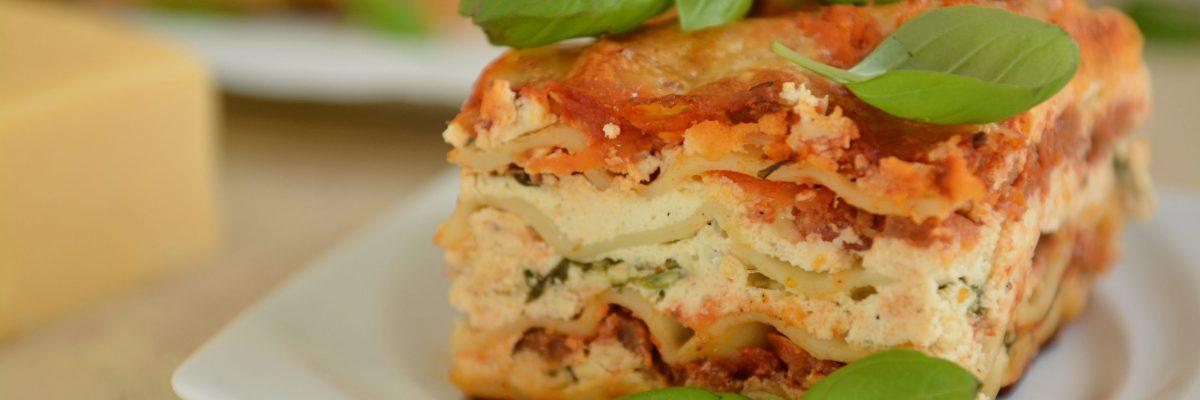 lasagne z serami i szpinakiem