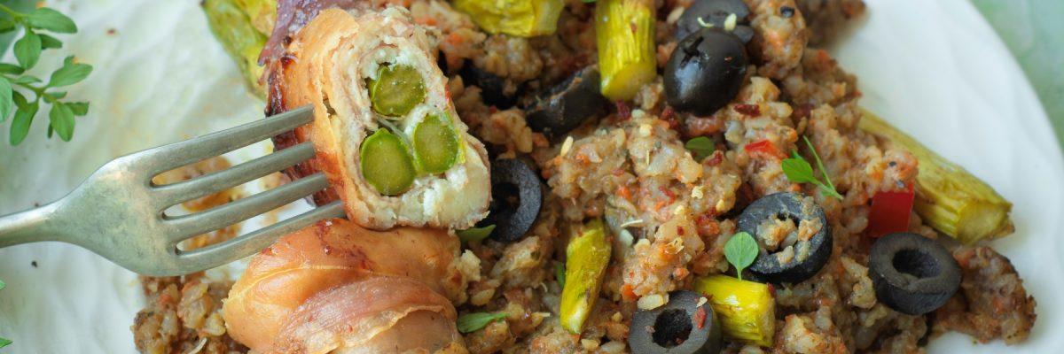 szparagi zapiekane z szynką i serem